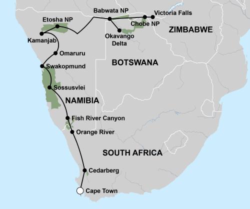 Grote ontdekkingsreis van Victoria Falls naar Kaapstad (26 dagen
