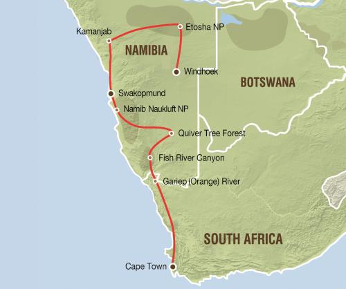 van Etosha tot de Kaap (17 dagen)