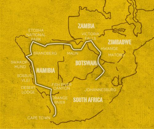 Op avontuur door Namibië, Botswana Zimbabwe (26 dagen)