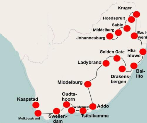 Zuid Afrika per camper (25 dagen) Zuidwaarts