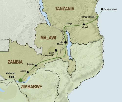 Sfeerimpressie Kampeeravontuur van Victoria Falls tot Zanzibar (18 dagen)