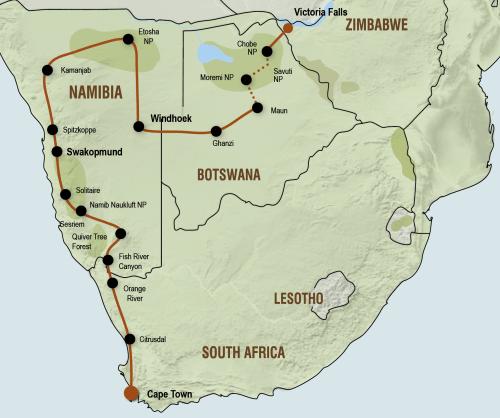 Sfeerimpressie Kampeersafari van Victoria Falls naar Kaapstad (23 dagen)