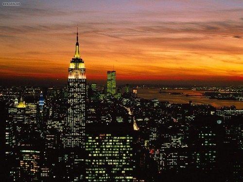 Manhattan skyline evening
