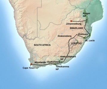 kaart Het Beste van Zuid-Afrika