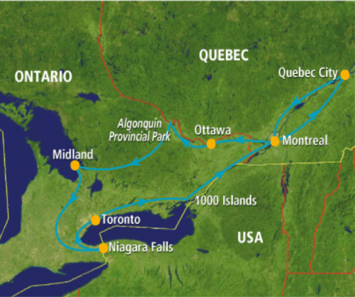 Tijdens deze groepsreis door het oosten van canada reist u in een rustig tempo, want u verblijft namelijk ...